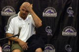 (DENVER, Colo., Aug 6, 2004)  Larry Walker, former Colorado Rockies baseball player holds a press...