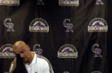(DENVER, Colo., Aug 6, 2004)  Larry Walker, wipes tears from his eyes discussing the importance of...