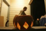 A finished pumpkin helmet  rest on the ledge of a central Boulder home where over a hundred people...