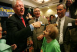 Former President Bill Clinton  greets supporters Warren Hern, Ann Reinstein, cq, 94, and Guy...