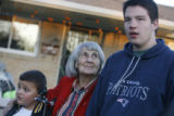 (DLM1335) -  With her great great grandson Dante Espinoza, 8, at her side Lydia Cooper, 91,...
