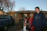 (DLM1337) -  With her great great grandson Dante Espinoza, 8, at her side Lydia Cooper, 91,...
