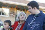 (DLM1333) -  With her great great grandson Dante Espinoza, 8, at her side Lydia Cooper, 91,...