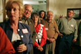 Supporters for 5th Congressional District candidate Jay Fawcett listen to the candidate speak...