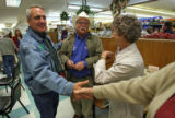 (DLM1532) -  Democratic gubernatorial candidate Bill Ritter shakes hands with supporters at...