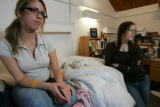 Olivia Watson, (cq), left, 18, a freshman at CU, and Ilana Fischer (cq)  19, a sophmore, sit in...
