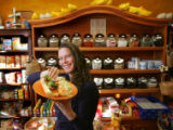 "Eva Tulp (Cq), owner of Dubbel Dutch, holds an ""Old Amsterdam"" sandwich they she serves..."