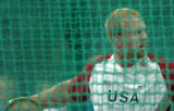 (ATHENS, GREECE-AUGUST 23, 2004) United States discus thrower, Casey Malone readies for his final...