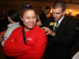 (Denver, Colo., November 7, 2006) Melodee Heatwole (13, cq) gets her campaign shirt signed by CU...