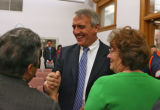 Bill Ritter, right, Colorado's newly elected governor, showed up at House Democratic caucuses...