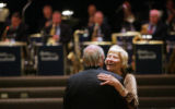 Carolyn and Gene Kucinkas (cq) dance to the Dean Bushnell (cq) Orchestra at the 59th Annual Golden...