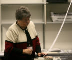 Member of the Weld County Election Canves Board Alice Risk, takes part in the recount of the...