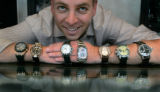 Jeremy Oster, part owner of Oster's is watched out -- wearing Audemars Piquet, Bovet, Breguet,...
