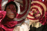 (DLM2082) -   Dressed as lollipops Nancy Pixley, left, and her daughter AZmber Pixley wait in the...