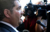 Robert Bernhardt, cq,  lawyer for Lawrence Trujillo answers media questions, Friday, Nov. 17,...