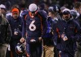 [JPM0413] In the end of the game, the Denver Broncos new starting quarterback Jay Cutler (6) walks...