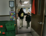 Lesley Balentine picks up her son Brandon Wilson from Trailblazer Elementary School after she met...
