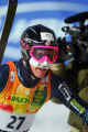 U.S. skier Ted Ligety (#27) shows his humorous side wearing hot pink goggles and a drawn on...