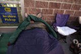 Shawn Brower (cq), 20 sleeps early Thursday morning November 16,2006 in front of Best Buy at...