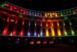 The columns of the Denver City and County Building are aglow by colored spotlights during a test...