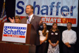 (8/10/2004, Littleton, CO)  Bob Schaffer gives his consession speech after the votes came in favor...
