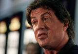 ILSF105 - Actor Sylvester Stallone talks to the media as he arrives for a special screening of his...
