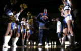 [JPMB367] Colorado 14ers Pooh Jeter runs onto the court amid the team's dancers during the...