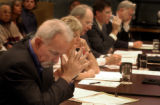 ( DENVER COLO. 8/25/04 )  Members of the Denver Water Board listen to citizen complaints during a...