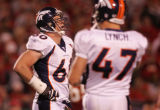 [JPM271] In the first quarter, Denver Broncos defensive end John Engelberger (60) catches his...