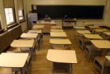 (DENVER, Colo.,  August 11, 2004) Nick Dawkins, 25, is in his classroom finishing preparations...