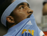 JOE610 Denver Nuggets J.R. Smith watches his team against the San Antonio Spurs in the second...