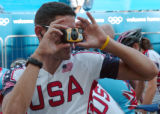(ATHENS, GREEECE, AUGUST 11, 2004)   Team USA Road Cyclist George Hincapie takes a photo of fellow...