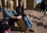 DLM0296  University of Colorado seniors Justine Rohde, 22, from left, and Melanie Charlton, 21,...