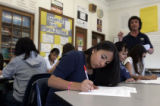 Breanna Fesili (cq), 14, an eighth grader in Brian Lambert's (cq) math class at Lake Middle...