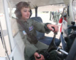 Julian Willis, (cq), 10, at the controls already to go. He was 'Cadet for a Day' at the Air Force...