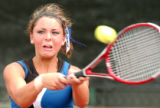 (Denver, Colo., May. 14, 2004) Katie Ulrich, Douglas County, Jr., hits the ball during semifinal...