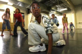 DLM2377  Lincoln Elementary fourth-grader Talicia Simes, 11, center (with camo shirt), hits the...