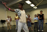 DLM2400  Lincoln Elementary fourth-grader Talicia Simes, 11, center (with camo shirt), busts out a...