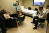 Dr Doug Tippin (cq) -left-, is a cancer patient and is being looked at by  MD Peter McSweeney...