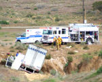 Lower Valley Fire District work at the Scene of an accident on I-70 5 miles West of the Colorado...