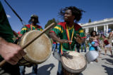 "DLM0571  Master Drummer Fara Tonlo leads the African drum group Kissidugu, which means ""a..."