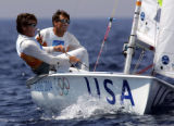 OLYSAI105 - Kevin Brunham, left, and Paul Foerster, right,  of the United States sail their way to...