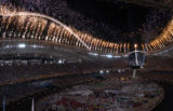 (Athens, Greece  on Friday, Aug. 13, 2004) - With the Olympic Cauldron lit,  fireworks mark the...