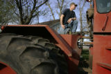 Iowa farmer Bill Salier (cq), fills his tractor with diesel fuel before heading out to plant corn...