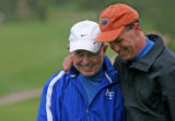 Former Airforce Football coach Fisher De Berry (cq), has a moment with current Airforce Coach Troy...
