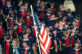 (ATHENS, GREECE, AUGUST 13, 2004)  Team USA marches in following the American flag into the...
