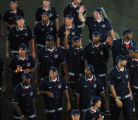 (Athens, Greece  on Friday, Aug. 13, 2004) - Members of the United States Olympic basketball team,...