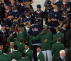 (Athens, Greece  on Friday, Aug. 13, 2004) - Members of the United States Olympic basketball team...