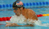 (Athens, Greece  on Saturday, Aug. 14, 2004) - U.S. swimmer Michael Phelps, here in the breast...