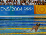 (Athens, Greece  on Saturday, Aug. 14, 2004) - Members of the German national swim team, watch...